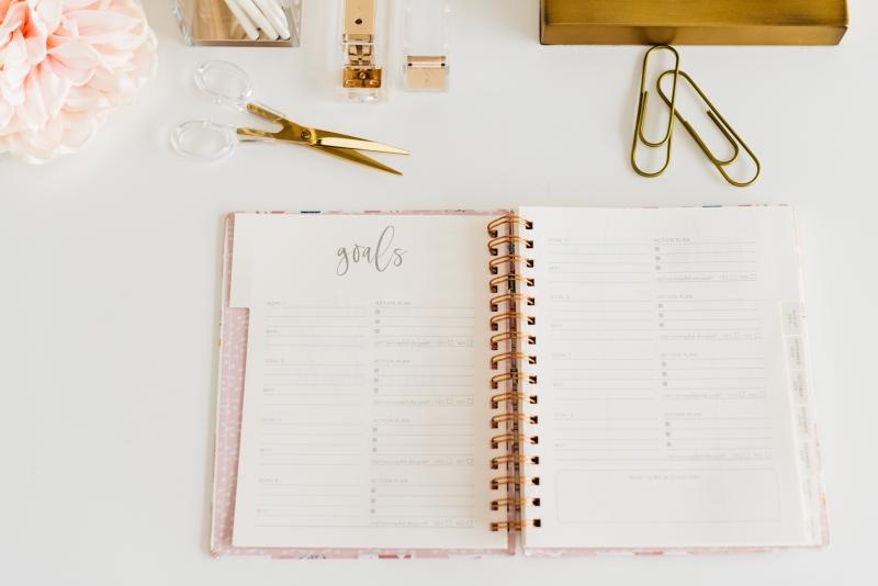 Open planner for goal setting.